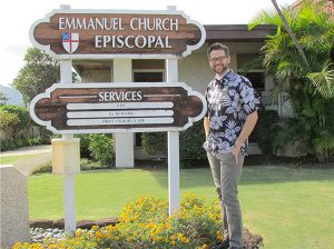 Rev. Christopher Golding with Emmanuel Church Episcopal sign