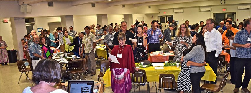Singing, celebrating after lifting up examples of positive actions now of the 19 Sparks of Hope in service to those in our islands who are without shelter and proper healthcare.