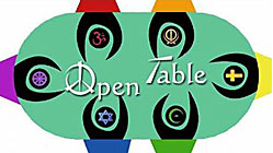 Open Table - figures identified with different faith traditions reach to each other across a table