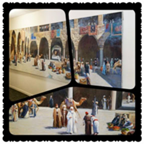 small image collage of courtyard with camels and people in robes