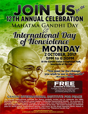 Mahatma Gandhi Day and International Day of Nonviolence @ Gandhi statue in Kapiolani Park, beachside of the zoo | Honolulu | Hawaii | United States