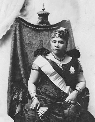 Queen Liliuokalani in a black dress